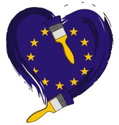 brush love European flag vector image vector image