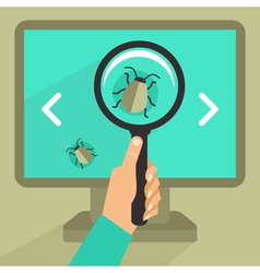 bug and virus in the programming code vector image