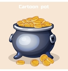 Cartoon metal pot filled with gold coins vector