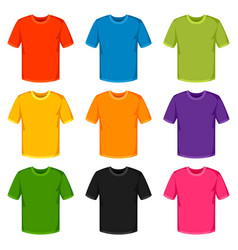 Colored t-shirts templates set of promotional and vector