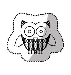 Contour sticker owl icon vector