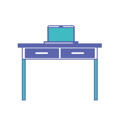 Desk table with drawers and laptop computer above vector