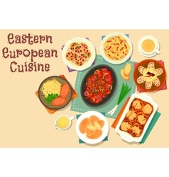 Eastern european cuisine icon with veggies meat vector
