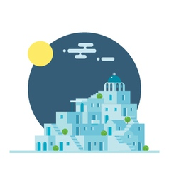 Flat design of Santorini Greece village vector image