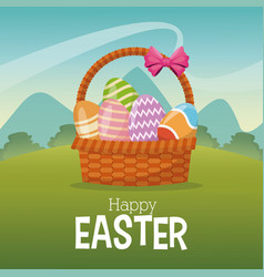 Happy easter card basket egg landscape vector