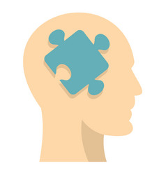 Head silhouette with jigsaw puzzle icon isolated vector