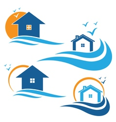 houses and waves vector image vector image