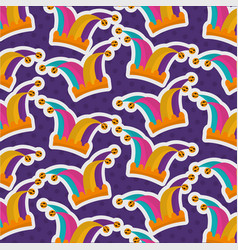 jester hat costume festive pattern design vector image