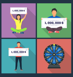 Lottery design concept set with winning vector