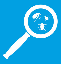 Magnifier and insects icon white vector