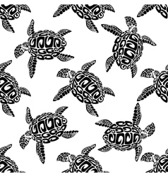 Marine turtles seamless background pattern vector