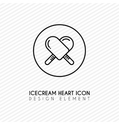 Outline ice cream heart icon vector image