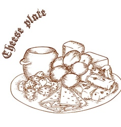 Pencil hand drawn of cheese plate with label vector