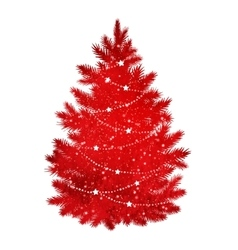 Red silhouette of Christmas tree vector image vector image