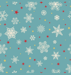 Seamless pattern of snowflakes white on light blue vector