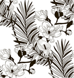 Seamless pattern with drawn flowers and vector