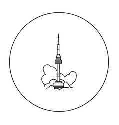 Seoul tower icon in outline style isolated on vector