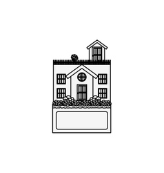 Silhouette house with terrace and label vector