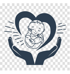 silhouette icon of the birth of a child vector image vector image