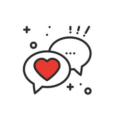 Speech bubble with heart line icon conversation vector