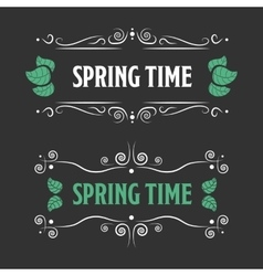Spring time sign on a black backgorund vector