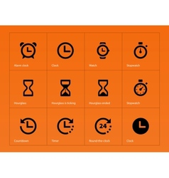 Time and Clock icons on orange background vector image vector image
