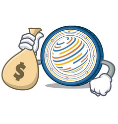 with money bag factom coin character cartoon vector image