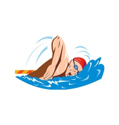 Swimmer swimming retro vector