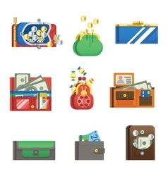 Open purse wallet set vector image