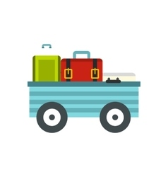 Freight trolley with loaded baggage icon vector