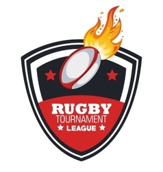 Rugby ball with flames tournament emblem graphic vector