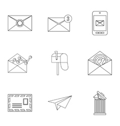 Letter icons set outline style vector
