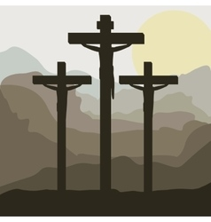 Scene sunset with crucifix in hill vector