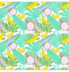 Tropical summer seamless background with bananas vector