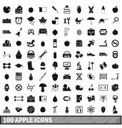 100 apple icons set simple style vector image
