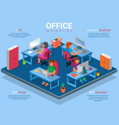 Flat 3d isometric business office concept vector