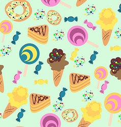Seamless confection pattern ice-cream candies pies vector