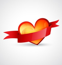 Heart design with red ribbon vector