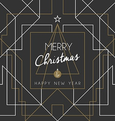 Merry christmas happy new year tree art deco line vector