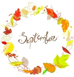 September lettering in a frame of leaves cones vector image