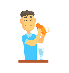 bartender man character standing at the bar vector image