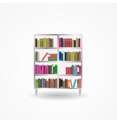 Bookcase with books icon vector
