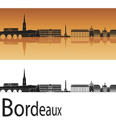 Bordeaux skyline in orange background vector image vector image
