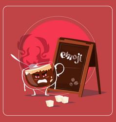 Cartoon coffee cup sad angry face people emoji vector