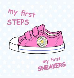 Childrens cute sneakers vector