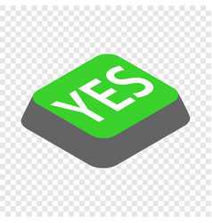 Click yes button isometric icon vector