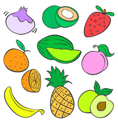 Collection stock of fruit various colorful doodles vector