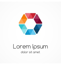 Color logo template Hexagon element ymbol vector image vector image
