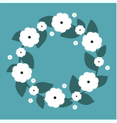 cute wreath with white flowers wreath vector image
