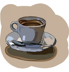 Digital painted cup of coffee vector image